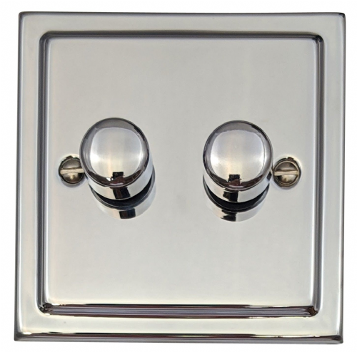 G&H TC12 Trimline Plate Polished Chrome 2 Gang 1 or 2 Way 40-400W Dimmer Switch